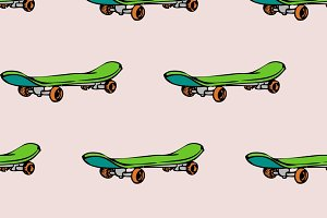 Seamless pattern with skate board