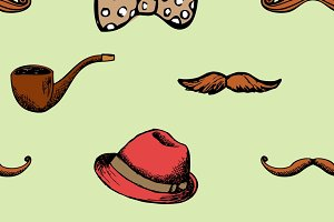 Pattern retro style hat and mustache