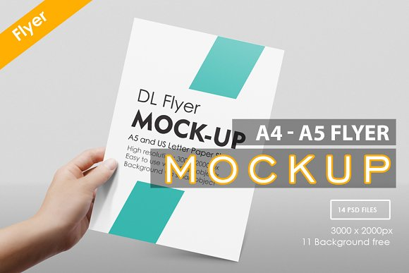 Free A4 - A5 Flyer Muck-up