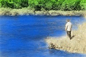 Man standing on river bank illustration background