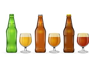 Beer bottle and glass of beer vector