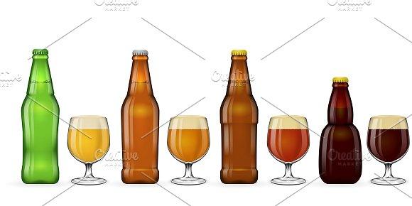 Beer Bottle And Glass Of Beer Vector