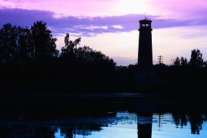 Night lighthouse hadow silhouette background