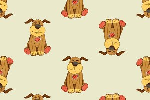 Pattern with cartoon dog