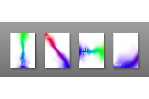 Vector illustration of bright color abstract blur pattern background set