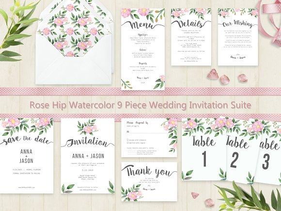 Rose Hip Watercolor Wedding Suite