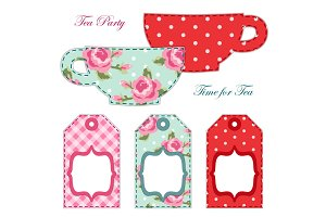 Cute applique of tea cups and stuff as retro elements for tea party