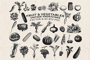 Fruit & Vegetables Engravings Vector