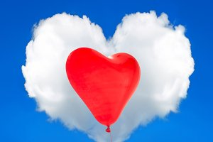 Red balloon and Heart Shaped Cloud