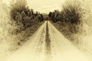 Norway countyside road in sepia background