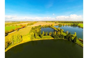 Aerial View Of Fields And Lakes