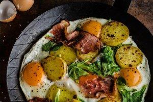 Rustic omelette fried eggs