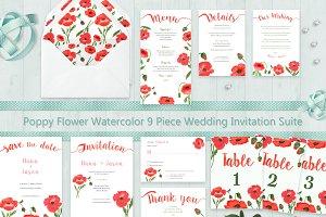 Poppy Flower Watercolor Wedding Set