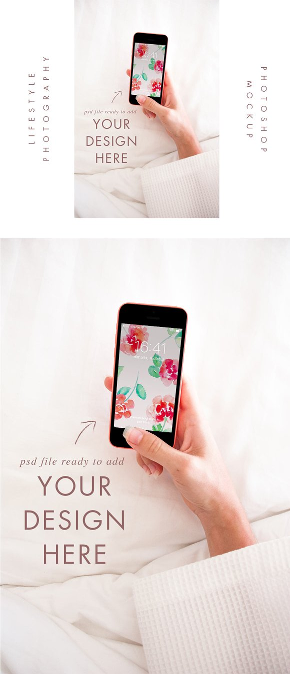Iphone 5 Mockup Bed Lifestyle