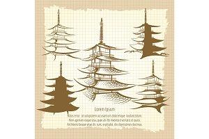 Asian pagoda vintage poster