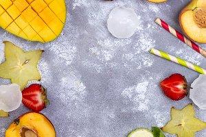 Ingredients for fruits summer beverages