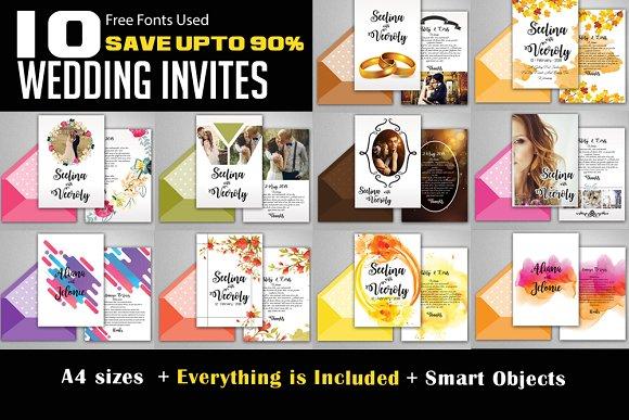 10 Wedding Invite Card Bundle Vol.03