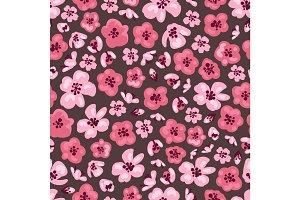 Pink sakura flowers seamless pattern