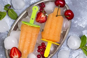 Homemade yellow popsicles