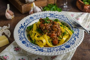 Italian pasta with beef stew
