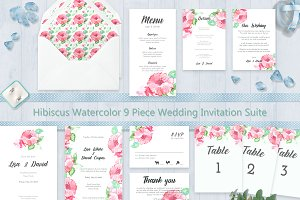 Hibiscus Watercolor Wedding Suite
