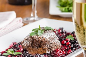 Chocolate souffle with berries