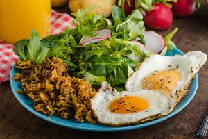 Hash Browns potato with eggs