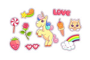 Stickers with unicorn and patterns
