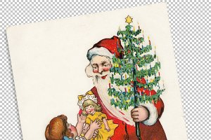Santa Claus giving a doll to a girl