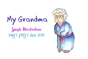 Grandma Watercolor Illustration