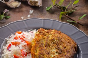 Potato pancakes with coleslaw