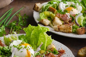 Fresh salad with poached egg