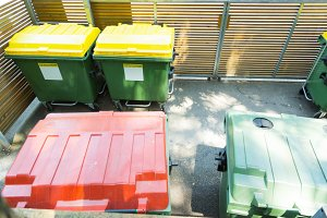 Garbage Containers At Civic Amenity Site
