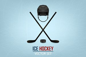 Ice hockey illustrations. Big set.