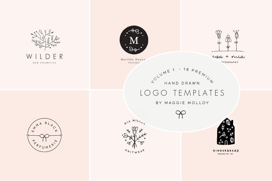 a90efb0fc99 Feminine Premade Logo Bundle Vol. 1 ~ Logo Templates ~ Creative Market