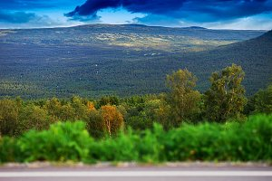 Norway mountain transportion road with bokeh background