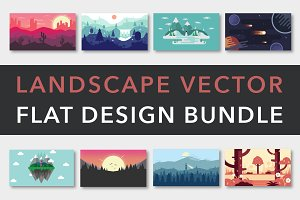 Landscape Vector Flat Design Bundle