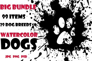 Watercolor Dogs set. Big Bundle