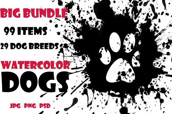 Watercolor Dogs Set Big Bundle
