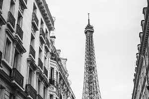 Eiffel Tower in Paris Streets