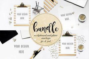 Clipboard and Glitter mockups