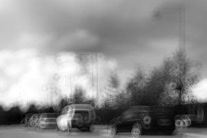 Black and white Norway car traffic bokeh with background