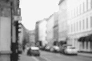 Black and white Oslo streets bokeh background