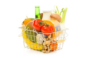 Shopping Basket With Groceries, Diagonal View