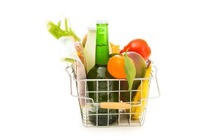 Shopping Basket With Groceries, Rear View