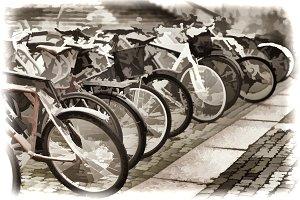 Norway bicycle yard sepia illustration background