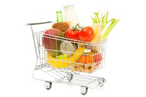 Shopping Cart With Groceries, Diagonal View