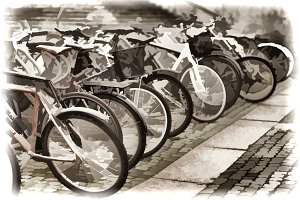 Norway bicycle yard sepia illustration background