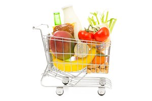 Shopping Cart With Groceries, Side View
