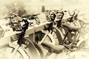 Norway bicycle public yard in sepia background